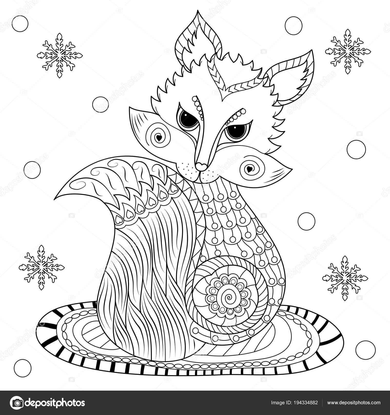 раскраска лиса зимний период иллюстрации Style Vector Adult