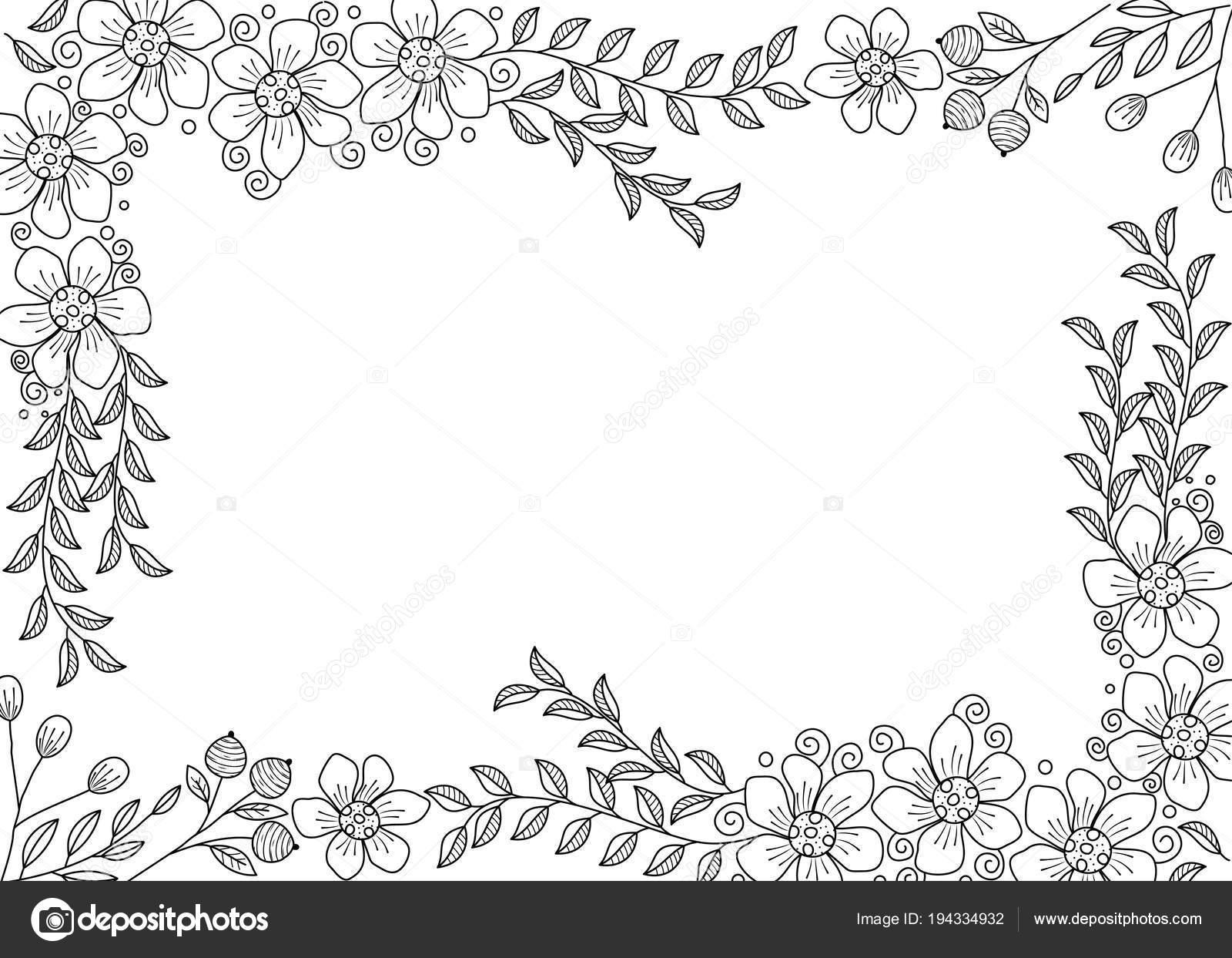 Coloriage Cadre Fleur.Cadre Fleur Coloriages Pour Adulte Illustration Doodle Style Vector