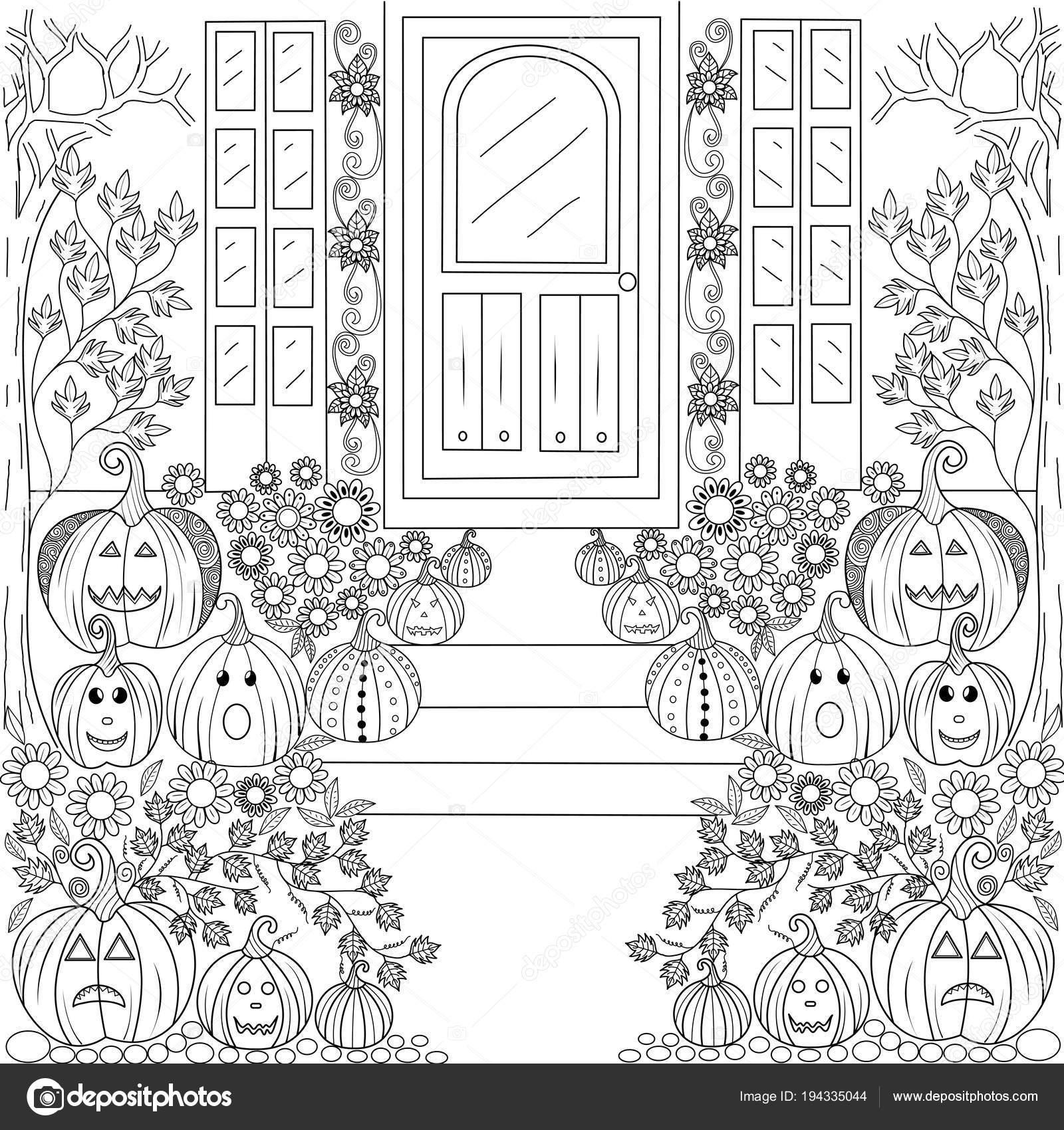 Página Libro Para Colorear Casa Calabaza Halloween Para Adulto ...