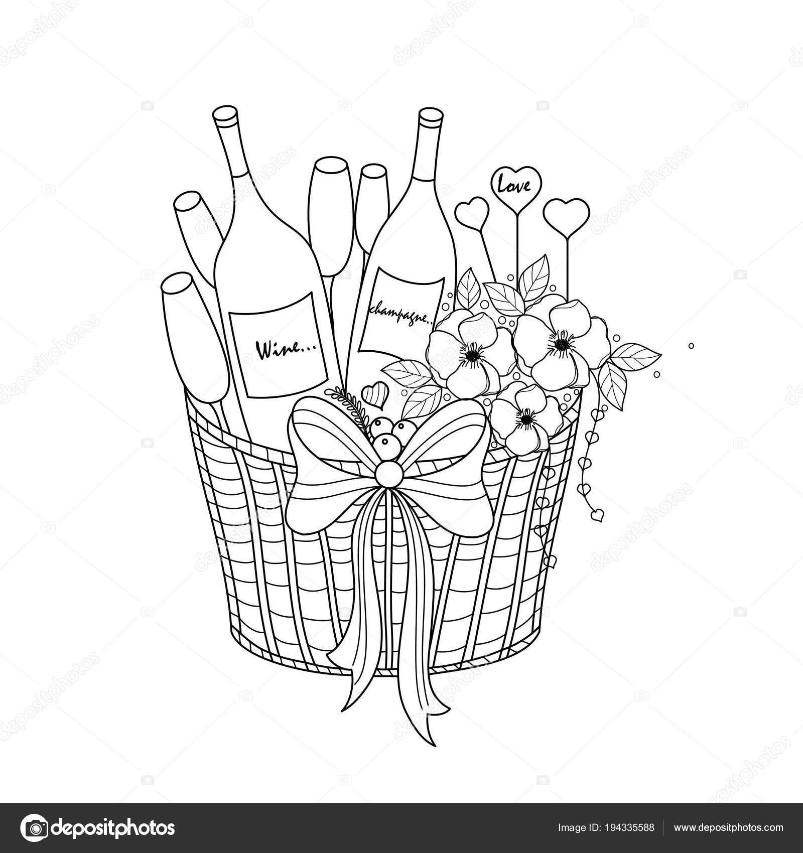 шампанское вина корзину раскраски книга взрослых плакатов