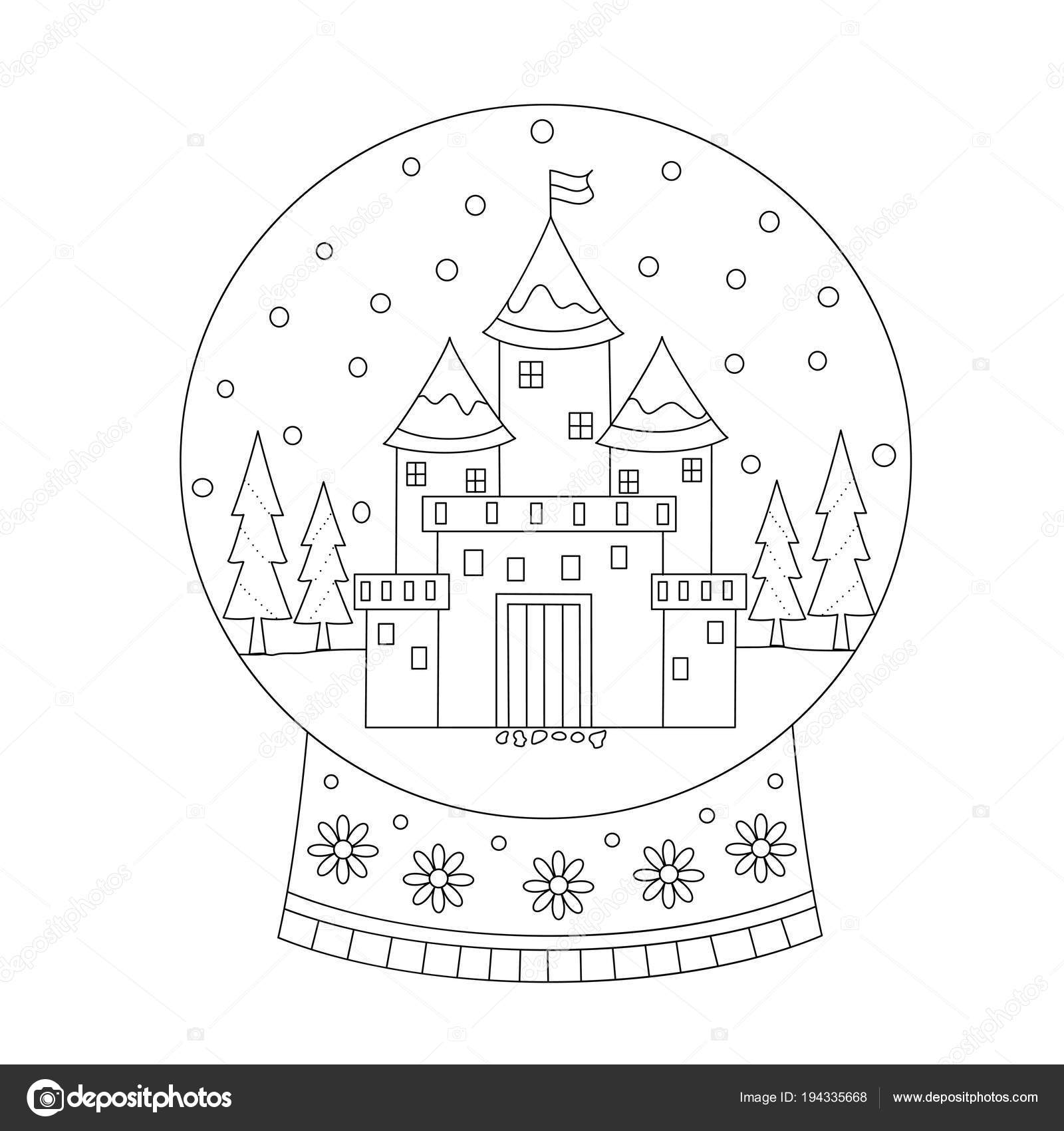 Coloring Book Page Christmas Snow Ball Castle Hand Drawn ...