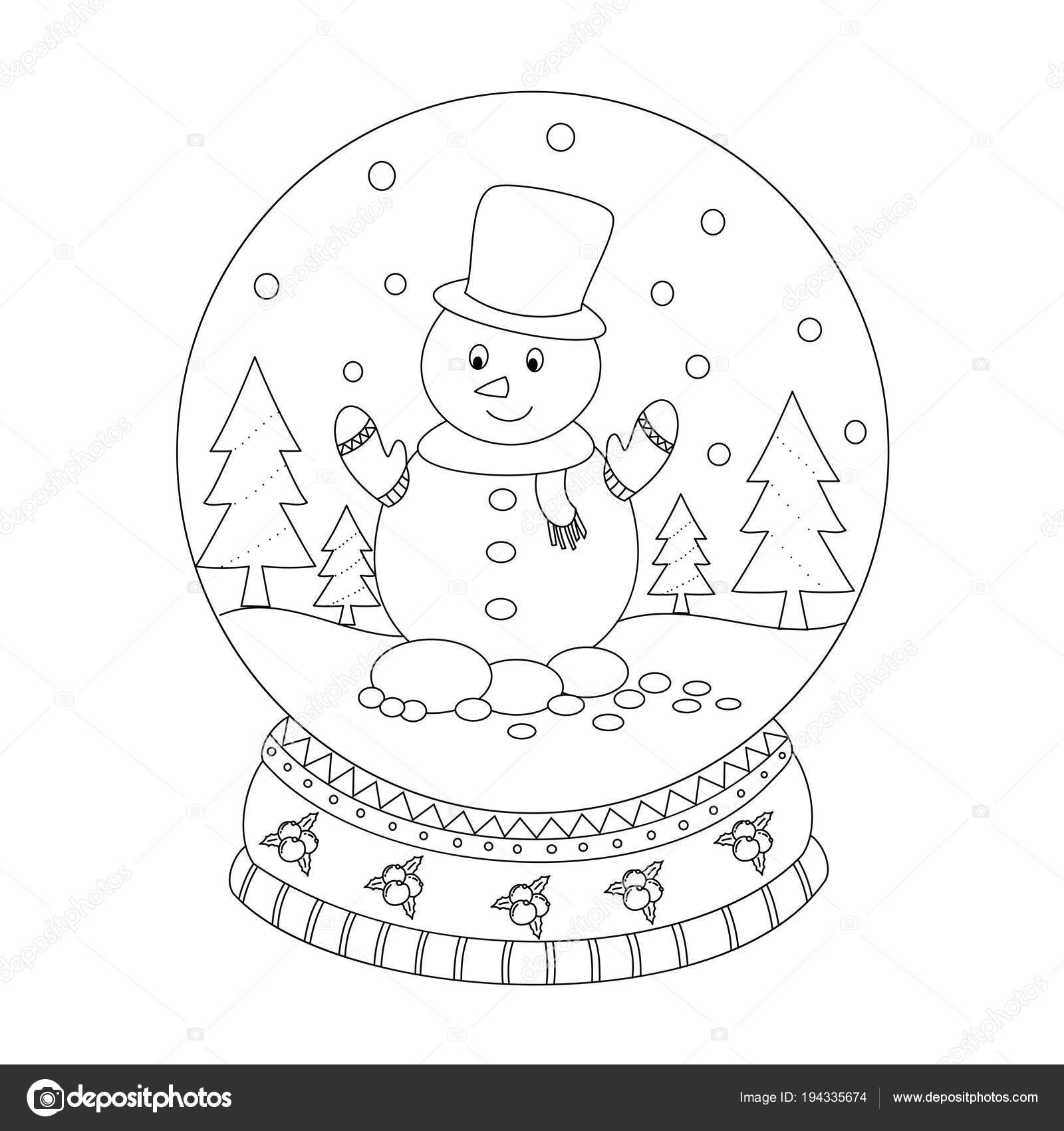 Coloring Book Page Christmas Snow Globe Snow Man Hand Drawn ...
