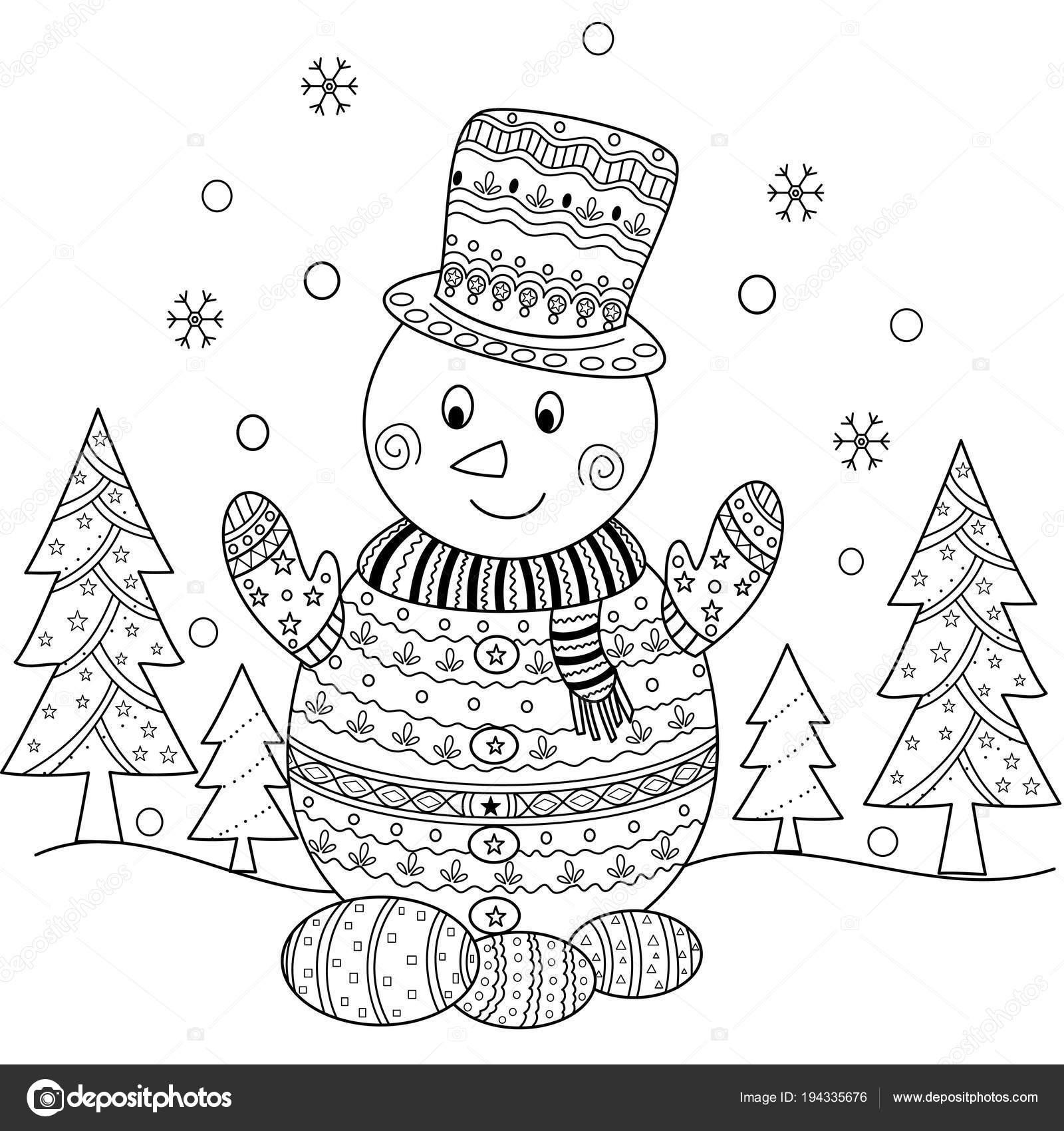 Página Libro Para Colorear Navidad Muñeco Nieve Para Adulto Estilo