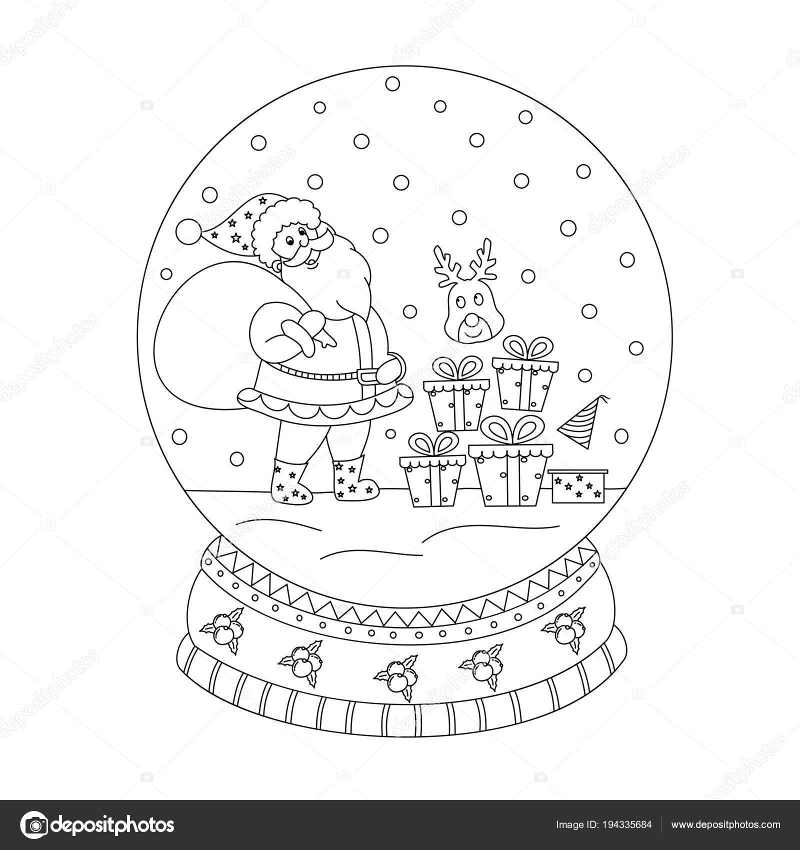 Printable christmas snow globe coloring pages for kids | 1700x1600