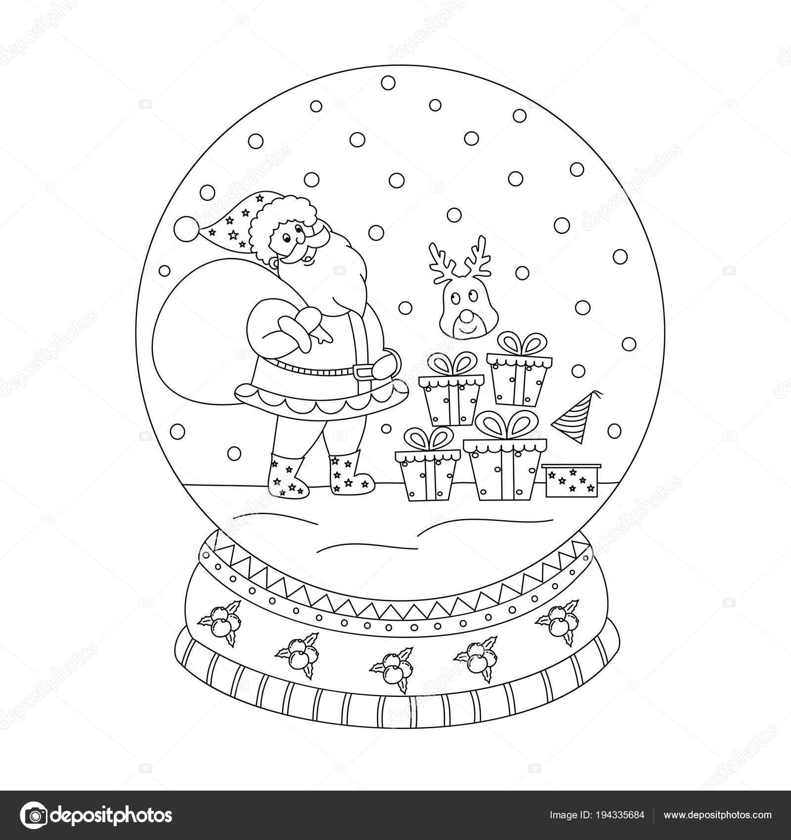 Kleurplaat Boek Van Kerst Sneeuwbol Met De Kerstman Han