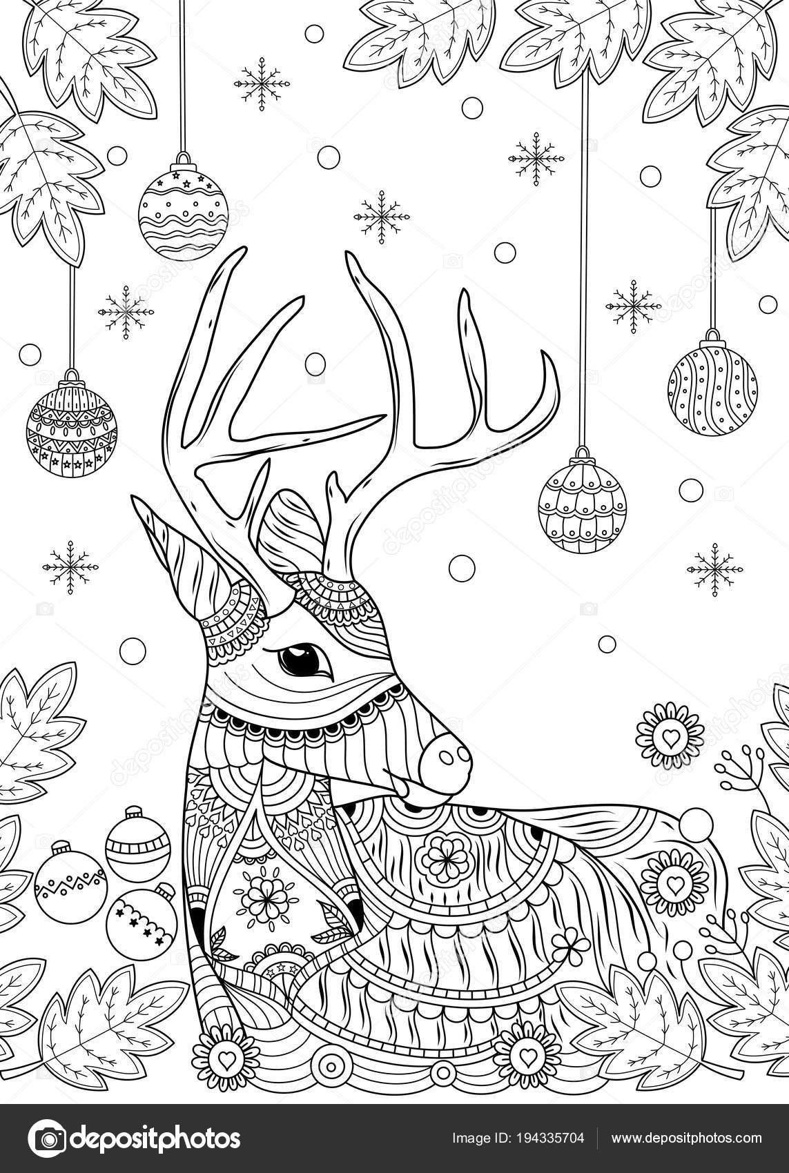 Venados De Navidad Para Pintar Renos Navidad Para Colorear Libro