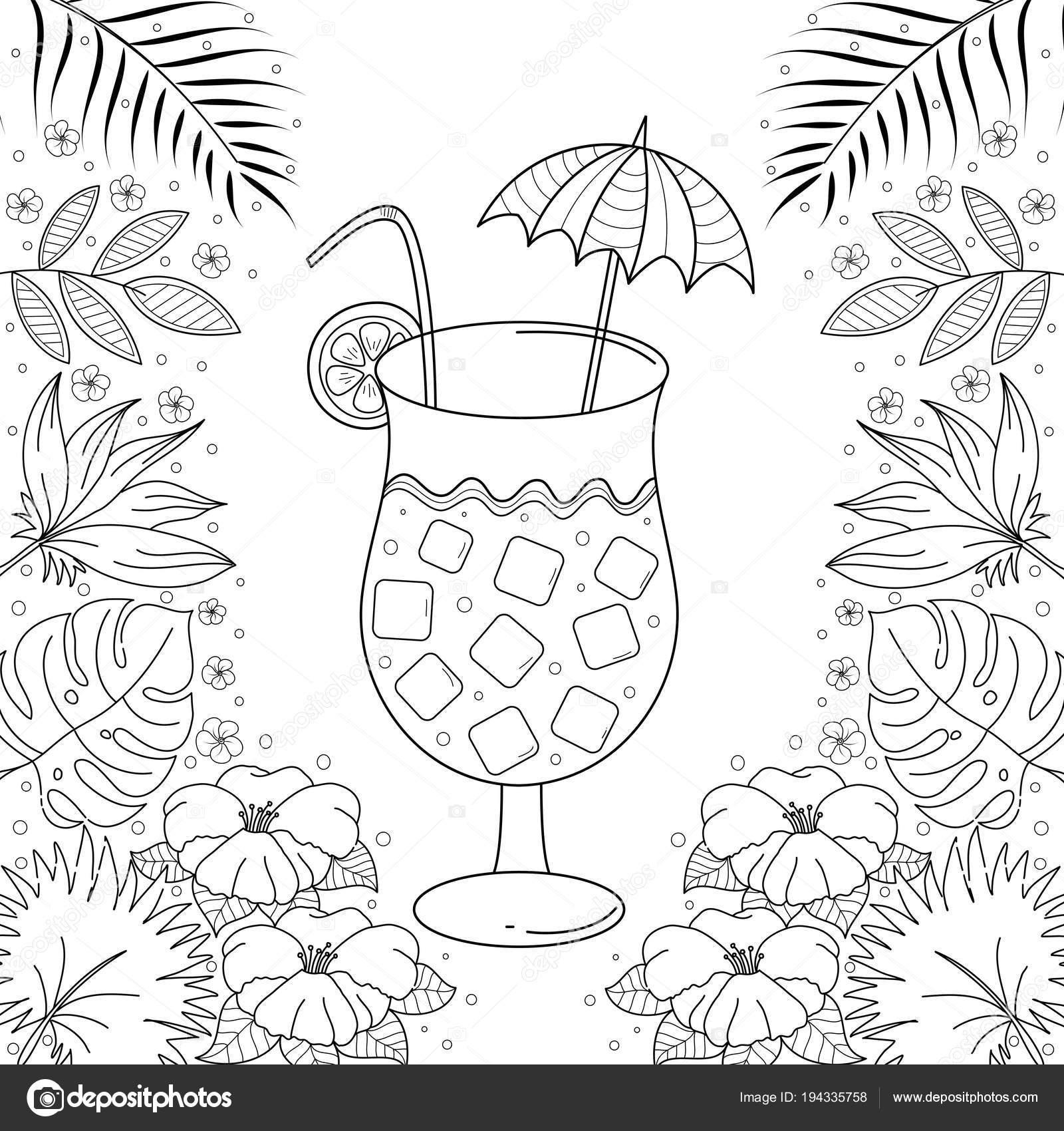 Jugo Tropical Para Colorear Libro Para Adultos Dibujado Mano ...