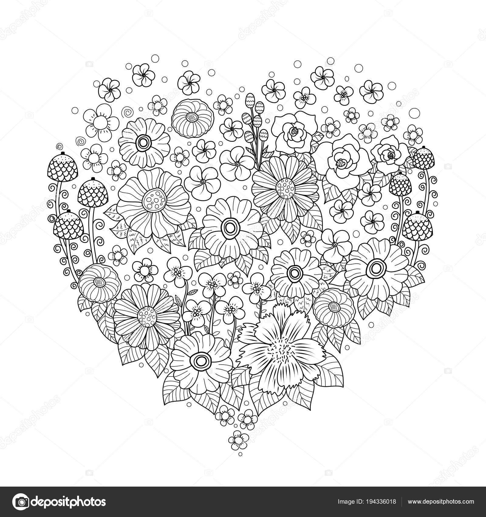 Kleurplaten Voor Volwassenen Valentijn.Kleurplaat Boek Van Bloem Hart Voor Volwassene Aftelkalender