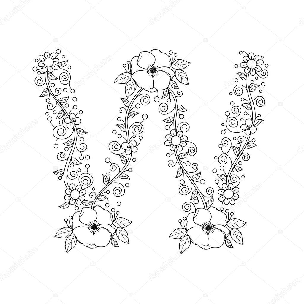 Floral Alphabet Letter W Coloring Book For Adults Vector IllustrationHand DrawnDoodle