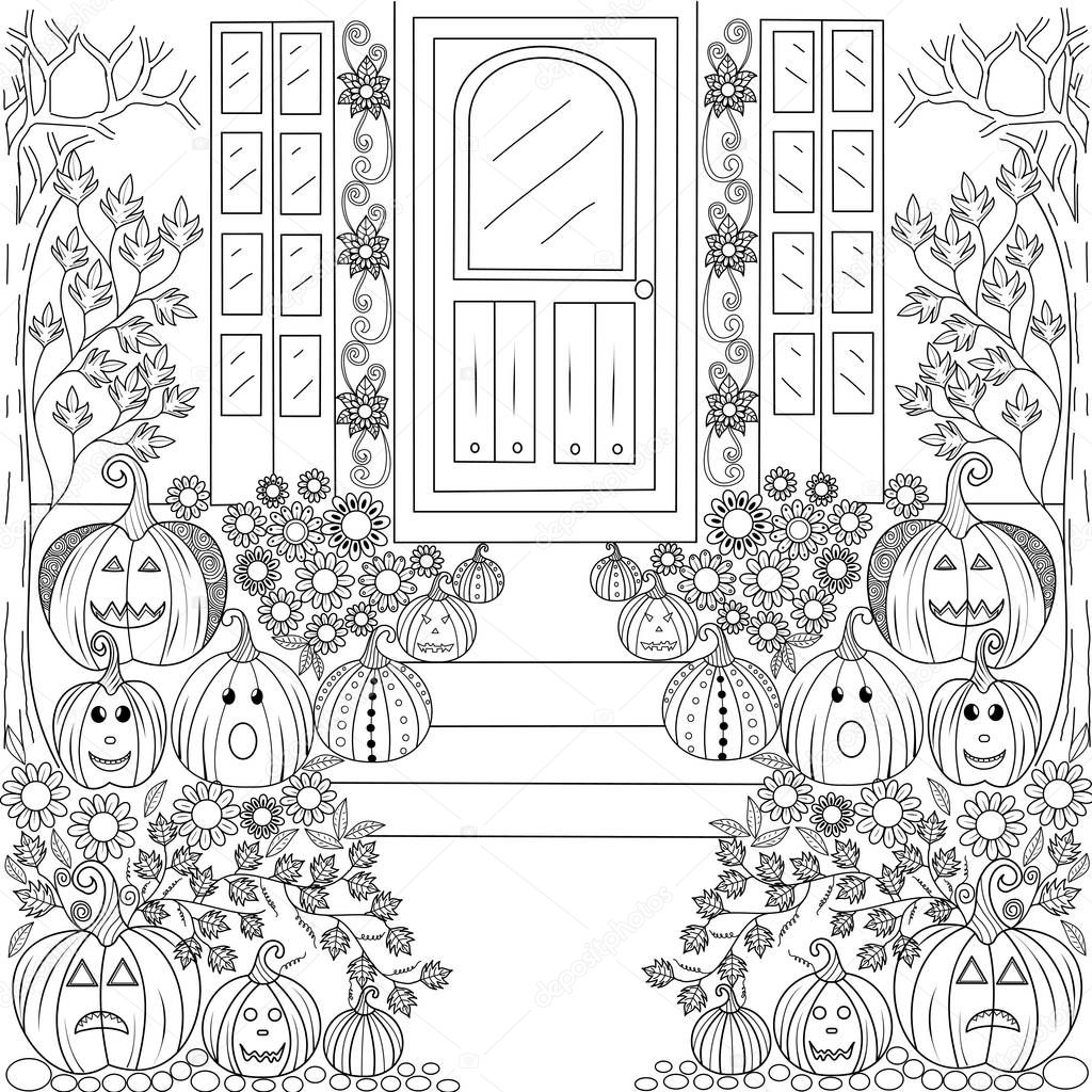 malvorlagen halloween kürbis haus für erwachsene und