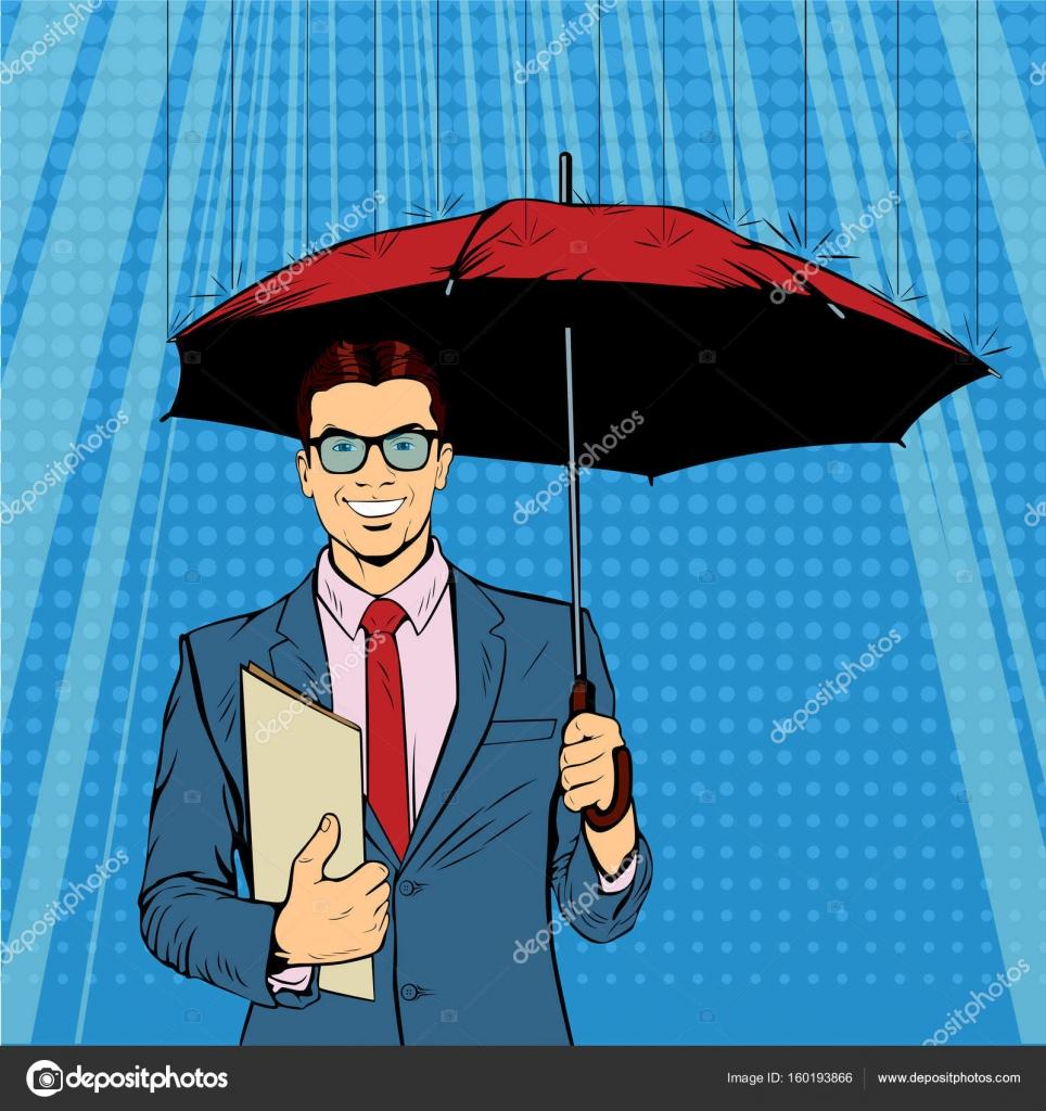 Ein Geschäftsmann stehende Holding Regenschirm schützt sein Geld für ...