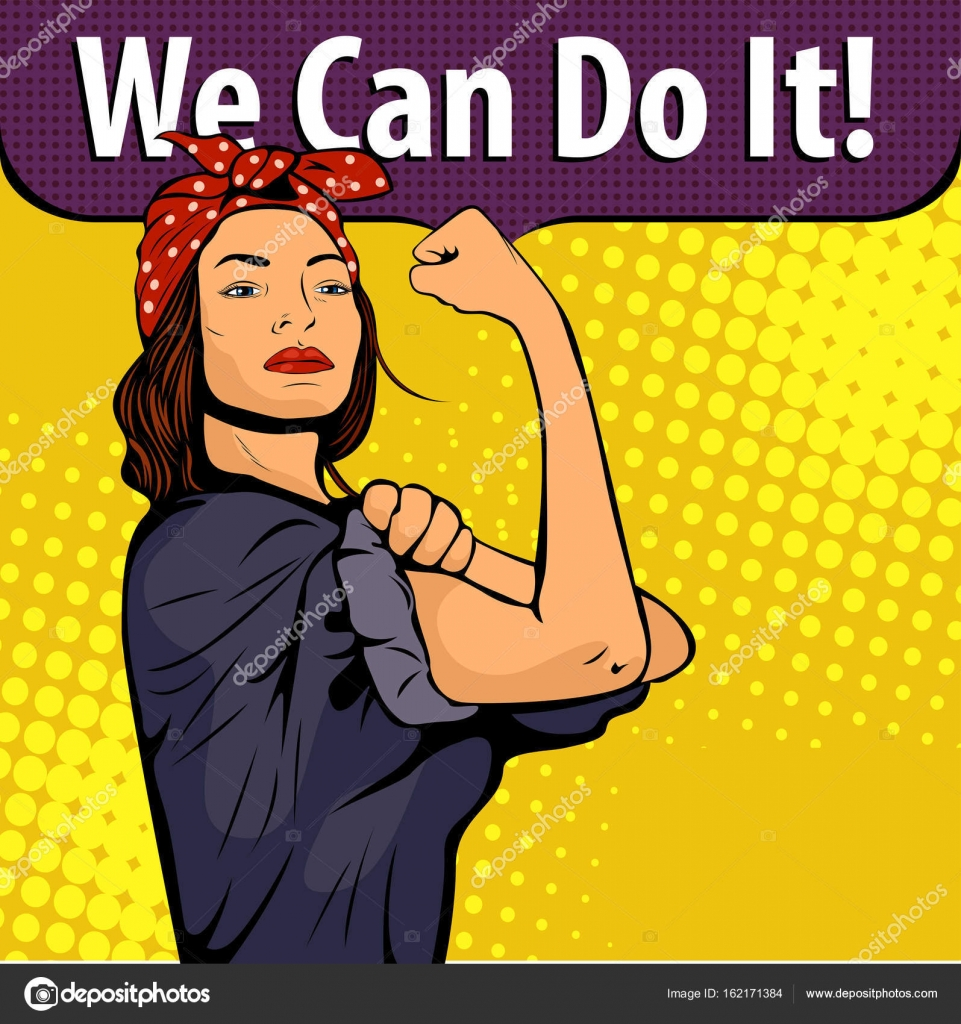 Vector Pin Up Girl We Can Do It We Can Do It Poster Pop Art Sexy Strong Girl Classical American Symbol Of Female Power Woman Rights Protest Feminism Vector Colorful Hand