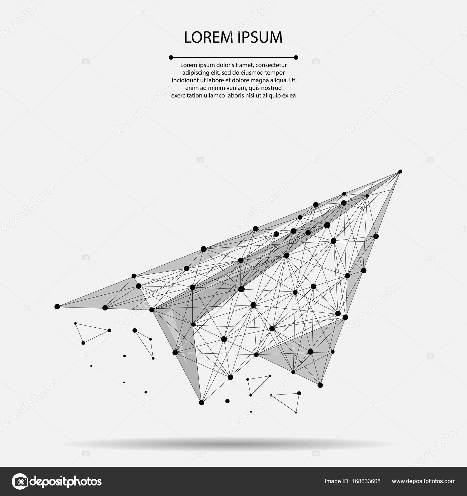 Resumen puré línea y punto origami plano. Ilustración de vector ...