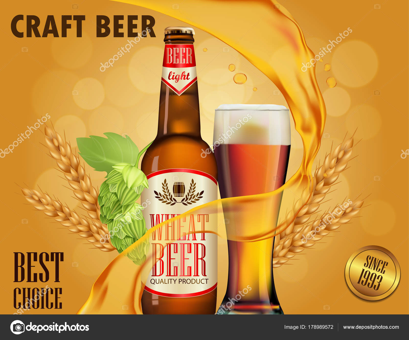 Beer Advertisement Design Poster Template Classic White Package Stock Vector