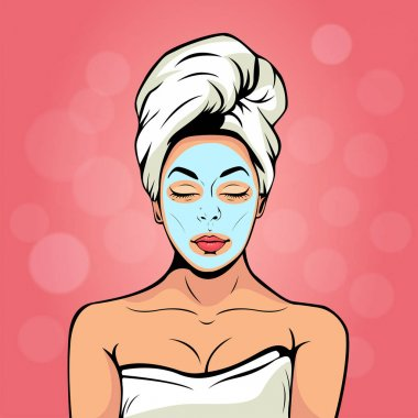 Sexy young woman in bath towel with cosmetic mask on her face. Colorful vector background in pop art retro comic style. Smiling and relaxing female face.