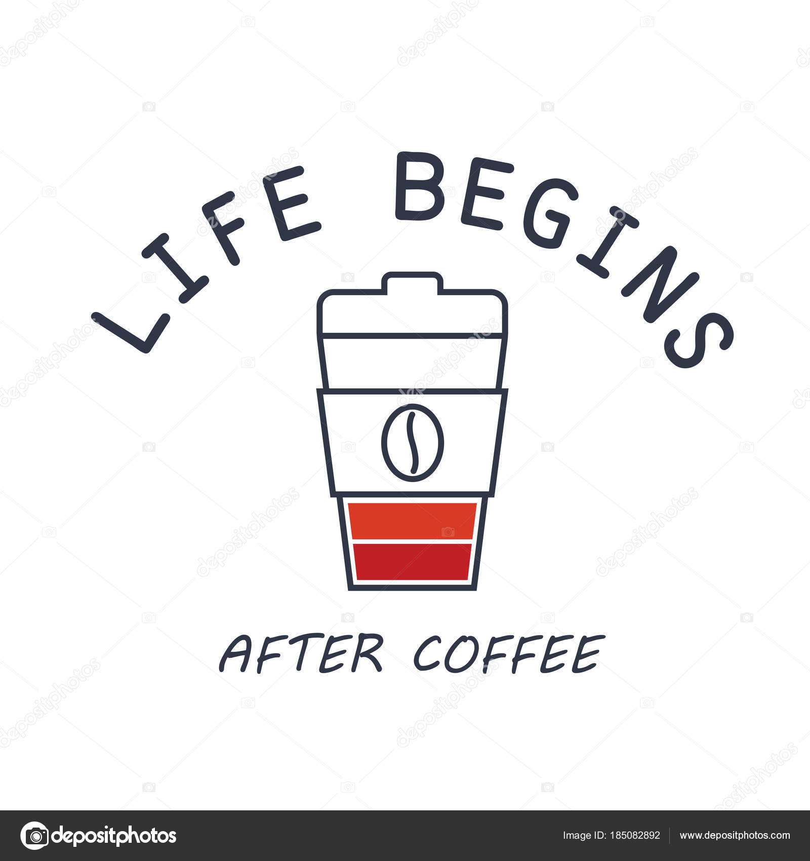Shirt Prinnting Slogan Life Begins Coffee Vector Illustration Coffee Cup U2014  Stock Vector