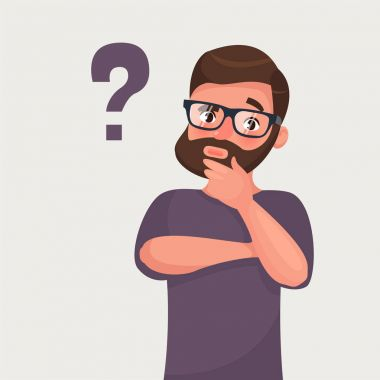 Thinking man with question mark. Vector illustration in cartoon style