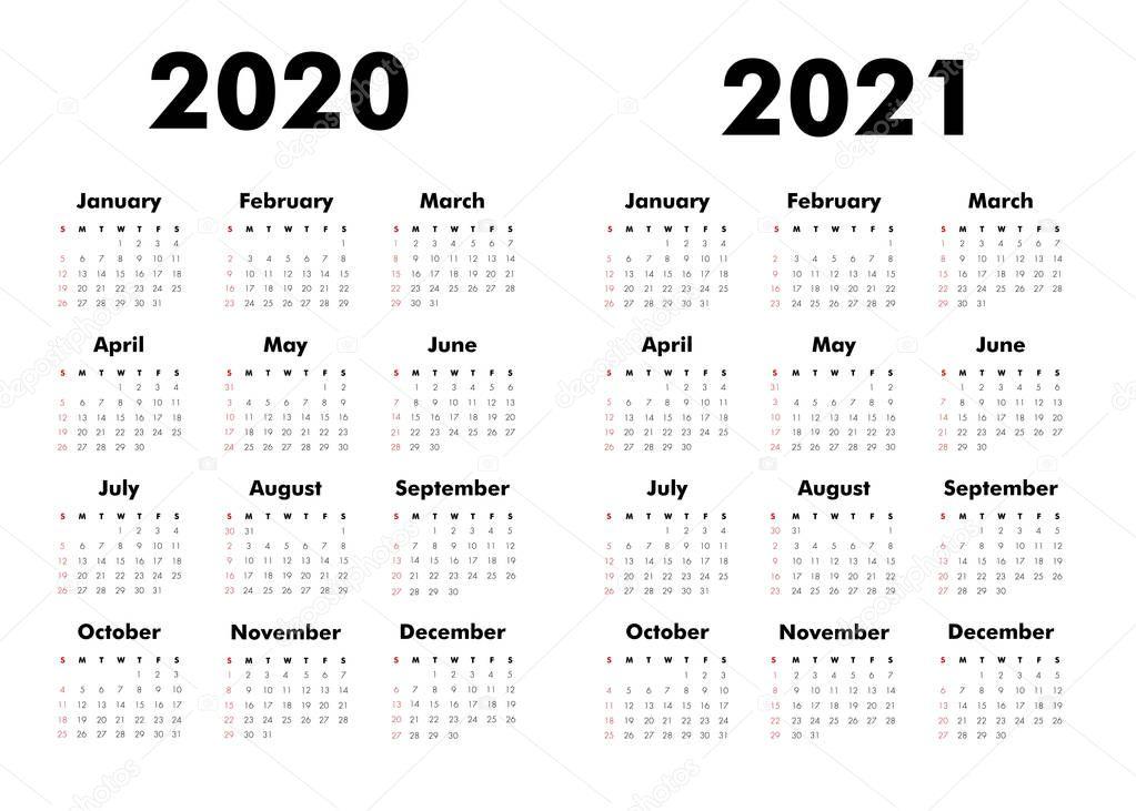 Vector Calendar 2020 2021 Years Week Starts Sunday ...