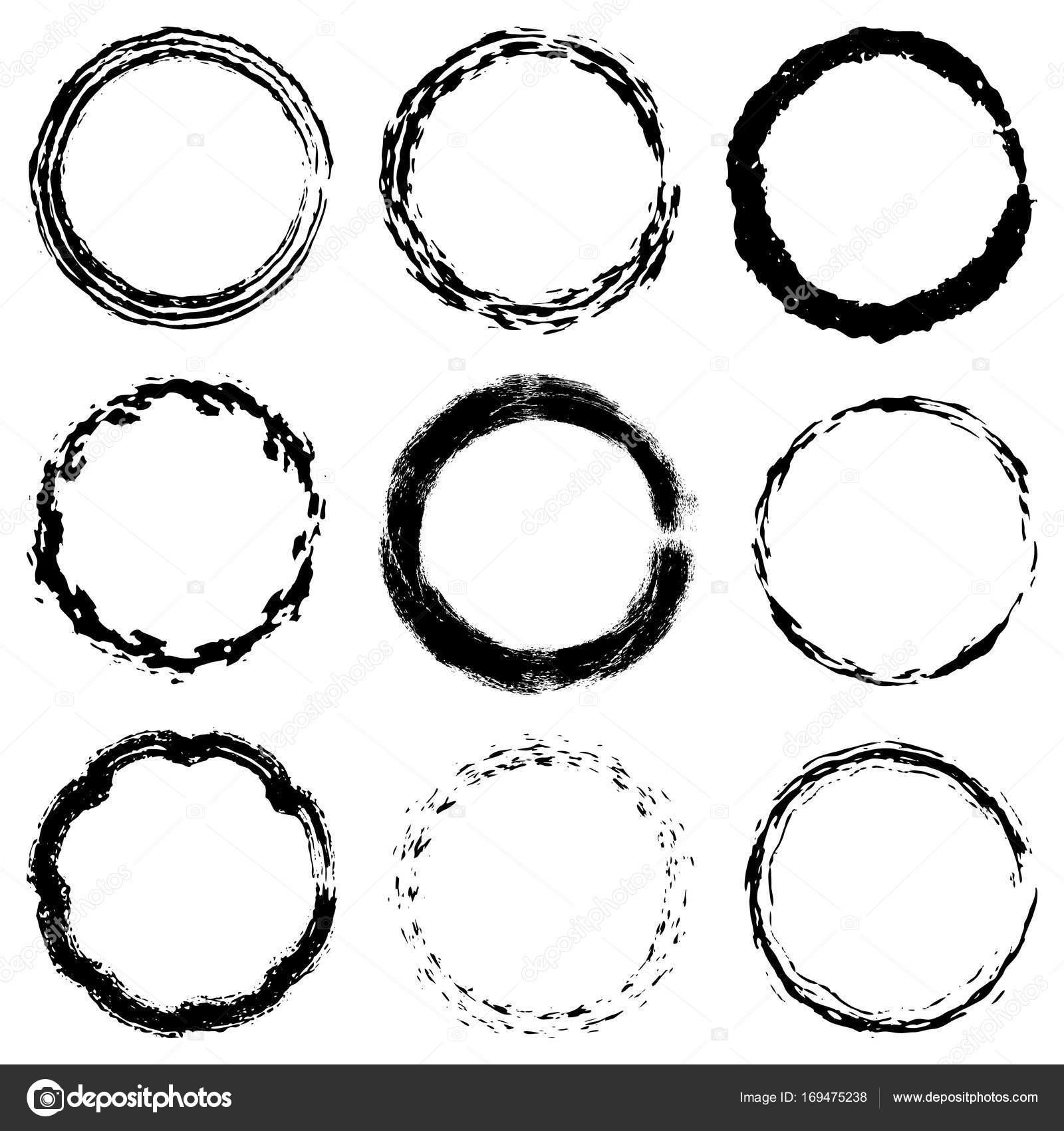 Conjunto de texturas de marco circular — Vector de stock ...