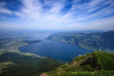 Panoramic Landscape View of Lake Lucerne and mountain ranges from Rigi Kulm viewpoint, Lucerne, Switzerland, Europe.
