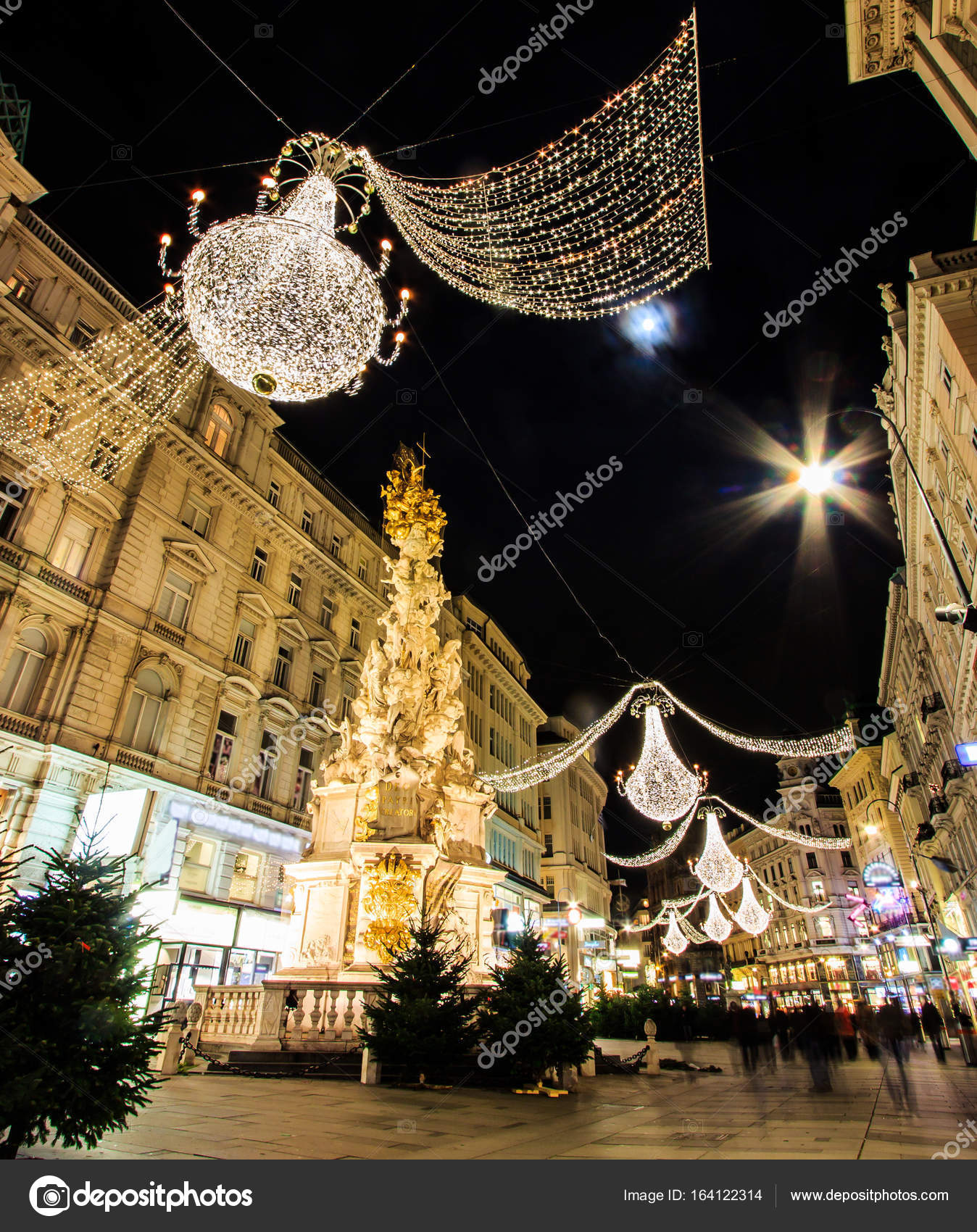 Night Atmospheric View, Motion Blurred Of Graben, Busy Crowded Viennau0027s  Shopping Street With Memorial