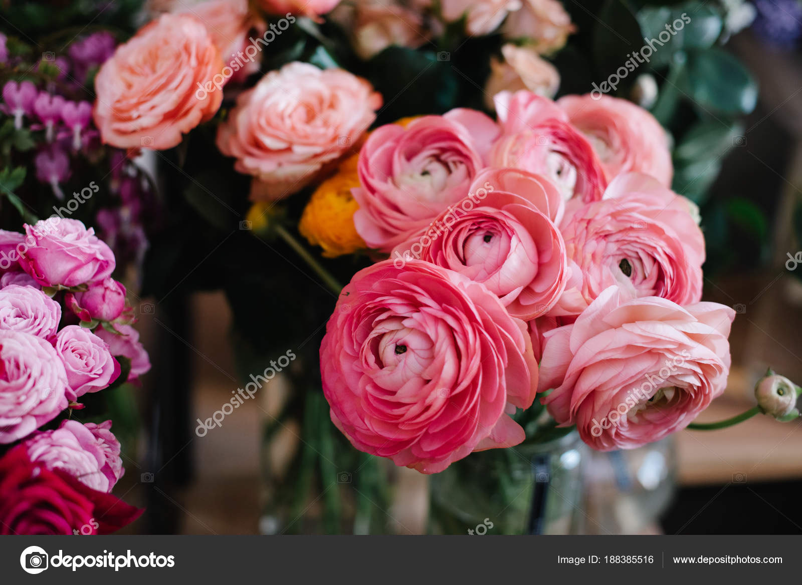 Beautiful Modern Floral Composition Anemones Roses Ranunculus