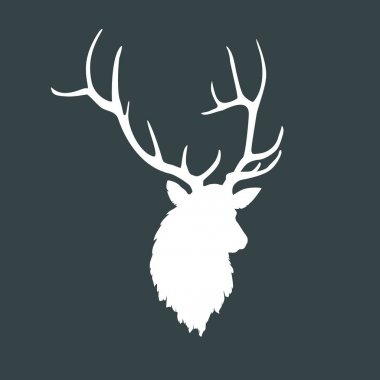 Silhouette of a head of a beautiful deer with horns