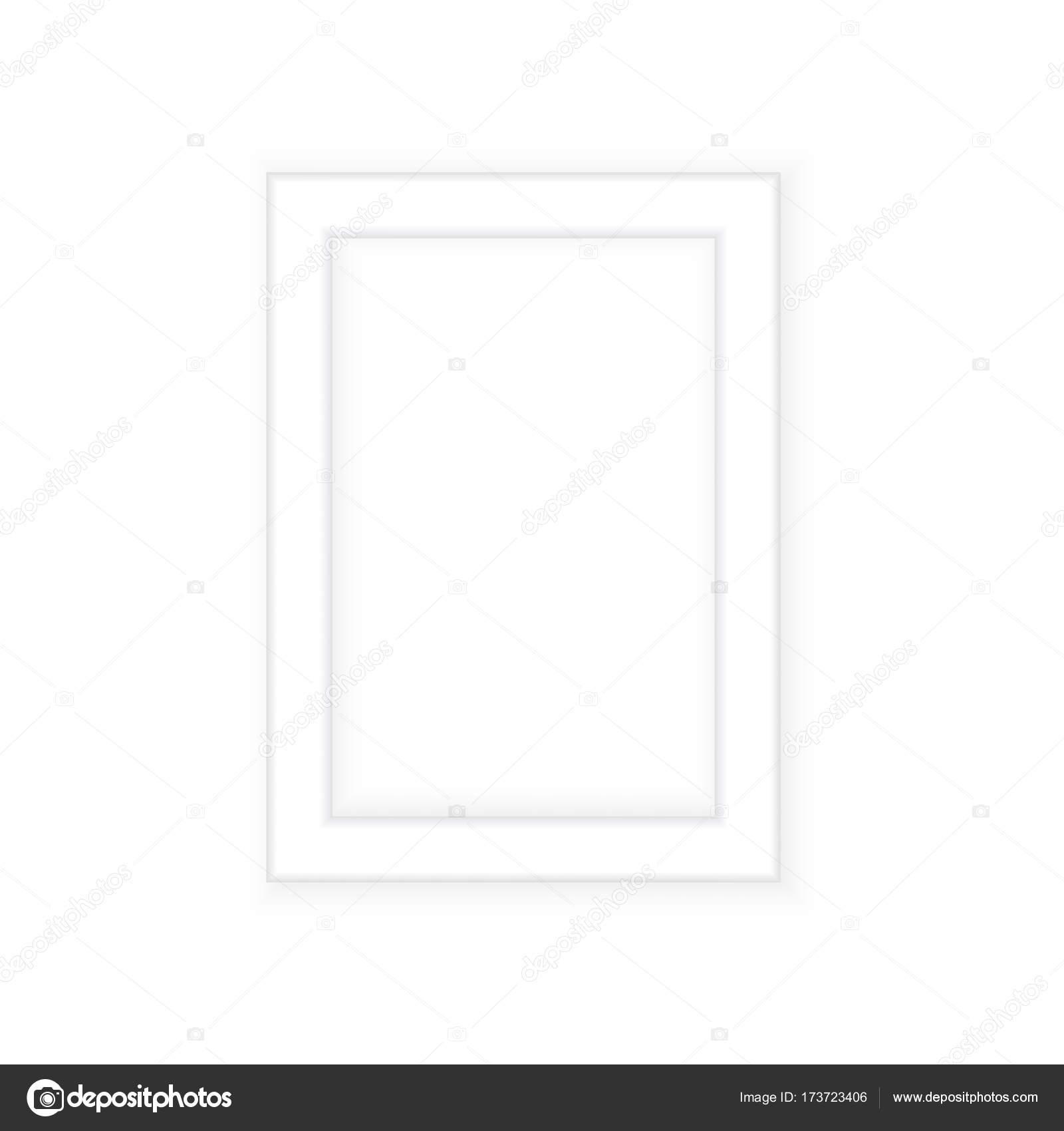 Weißer Bilderrahmen. Im Querformat. Minimalistische detaillierte ...