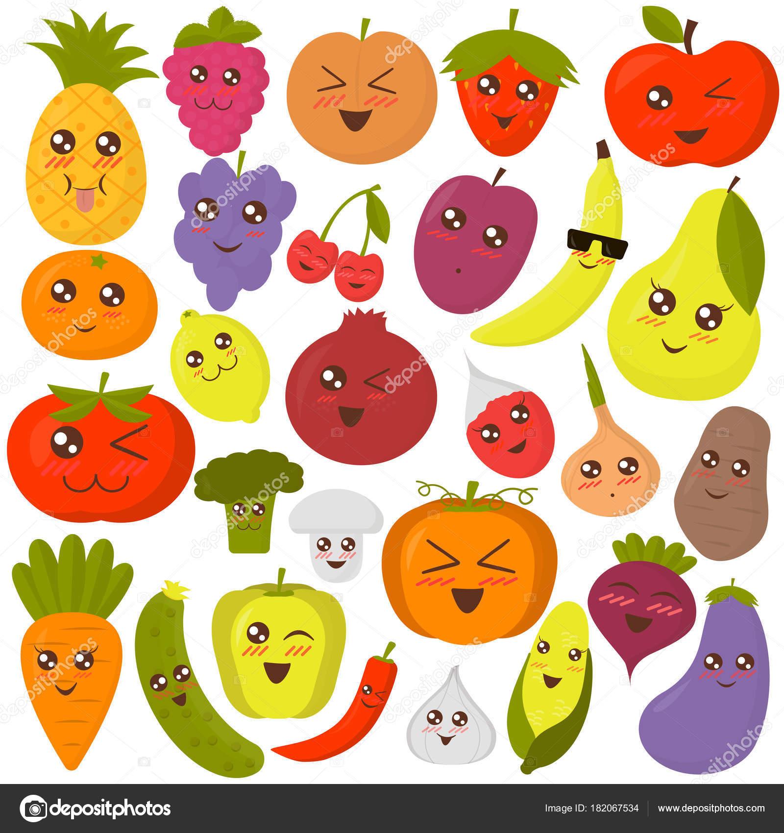 かわいい野菜や果物はベクトル イラストです。カラフルなフラット