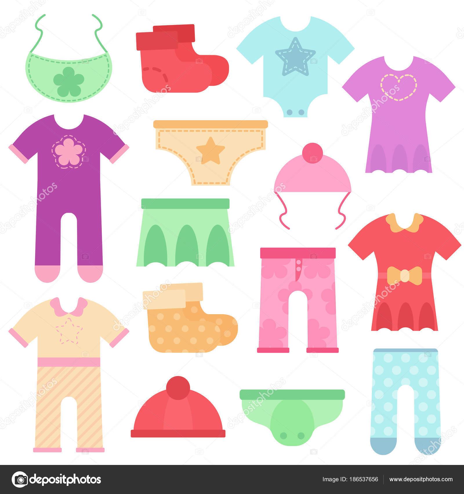 4eca348a2a3 Ρούχα του μωρού. Παιδιά πολύχρωμο και φωτεινό Κορμάκια και φόρμες για  αγόρια και κορίτσια. Εικονογράφηση διάνυσμα. Σετ εικονιδίων ενδυμάτων στην  επίπεδη ...
