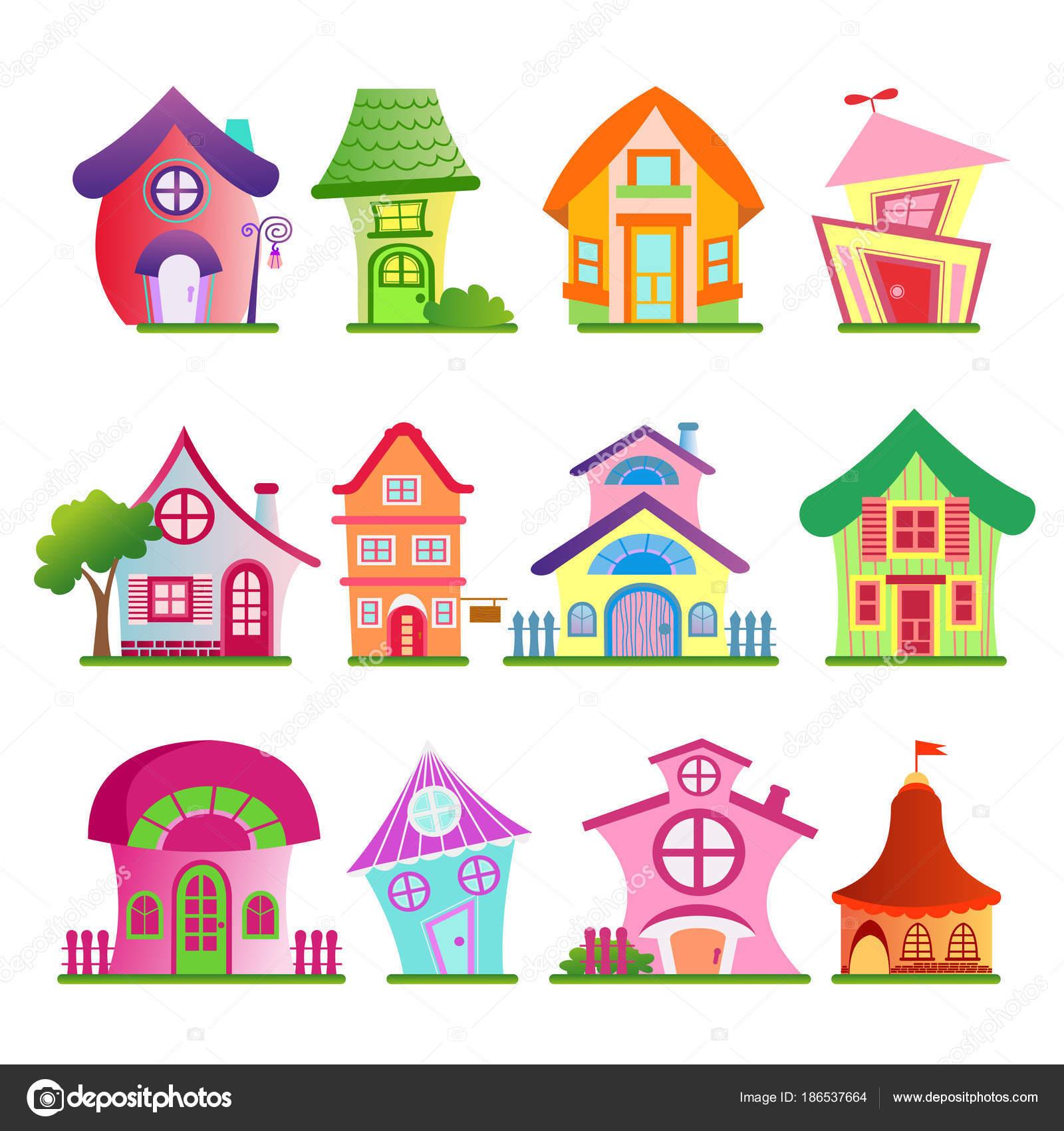 ilustração em vetor de conjunto de edifícios do país engraçado