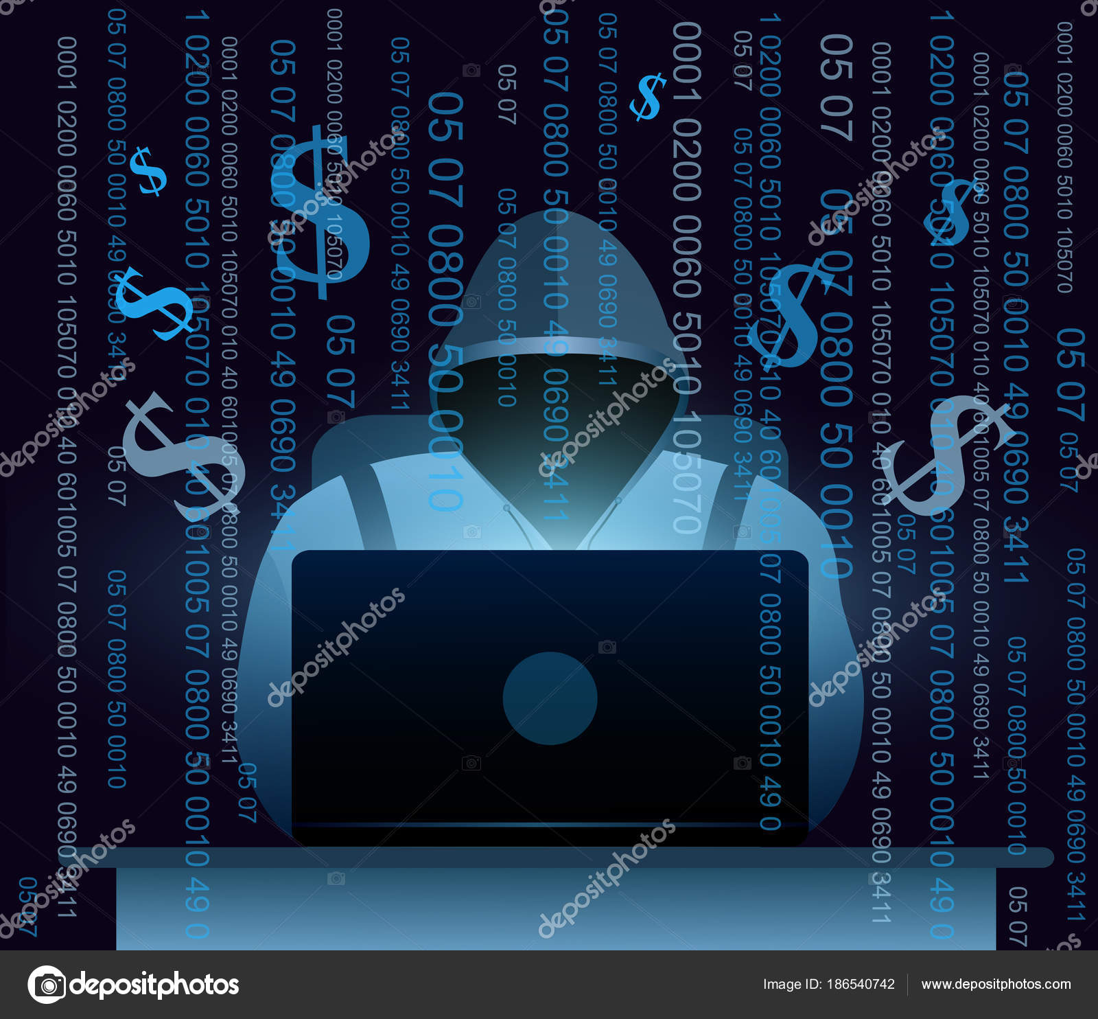 Vector Illustration Of Hacker With Laptop Hacking The Internet On