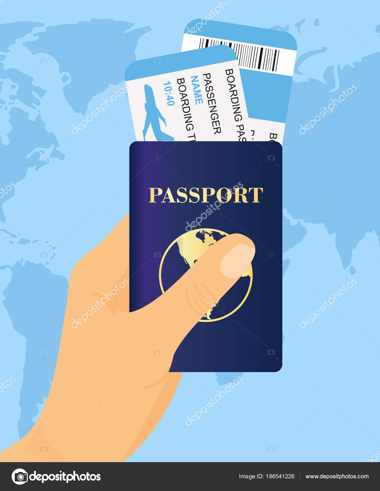 Vector illustration of hand holding passport with tickets on world vector illustration of hand holding passport with tickets on world map background concept travel and tourism vector by nataliia2910gmail gumiabroncs Choice Image