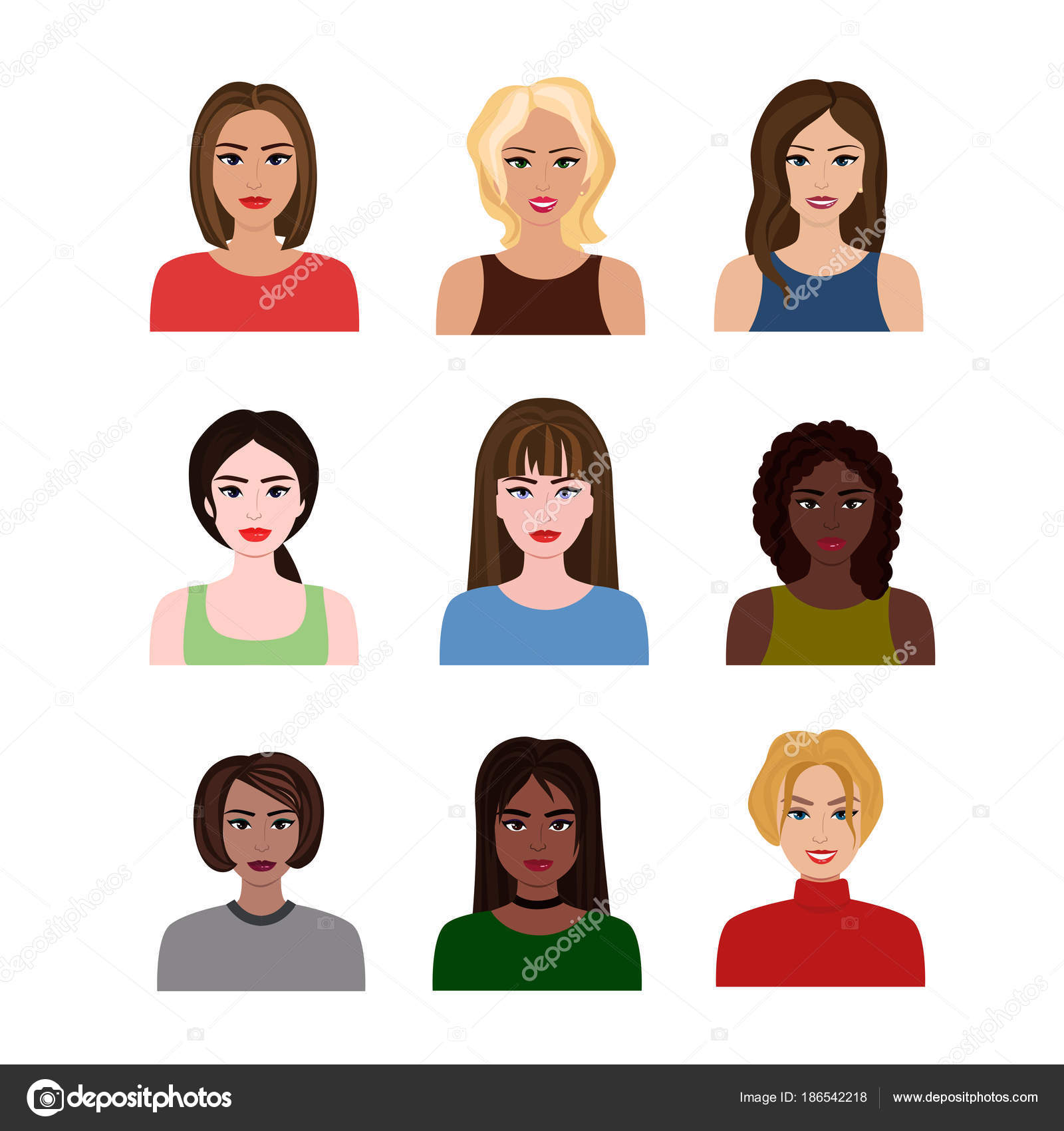 Vector Illustrations Of Beautiful Young Girls And Women