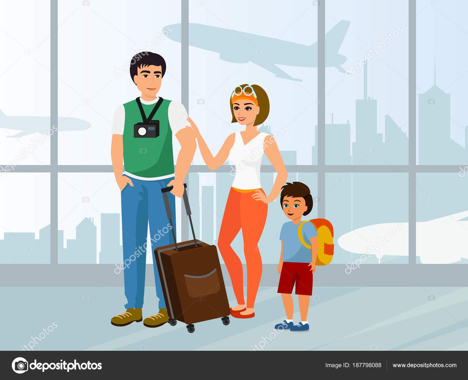 Vector Feliz Viaje Familia: Viaje En Familia Feliz Ilustración Vectorial. Padre Madre