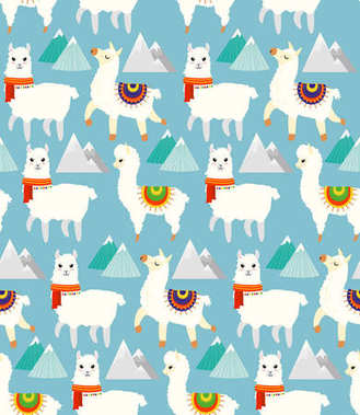 Vector Illustration seamless pattern with llamas, alpacas, mountains and hand drawn elements, childish texture for textile in flat cartoon style.