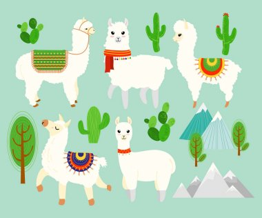 Vector illustration set of Cute funny alpacas and llamas with cactus elements, mountains on blue background. Lovely lamas in cartoon flat style.