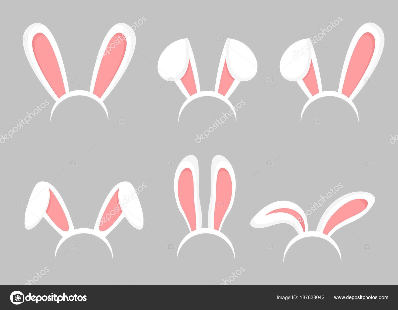 Vector illustration set of Easter bunny cartoon ears. Animal bunny ...