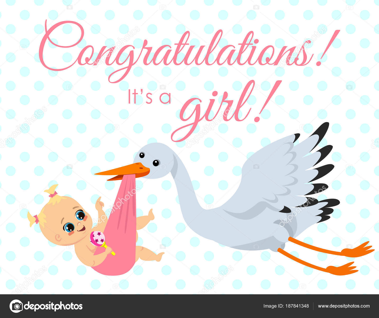 gratulationskort nyfödd Vektorillustration av gratulationskort med stork bära nyfödd  gratulationskort nyfödd