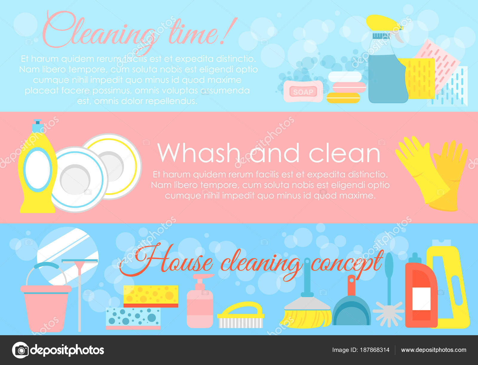 Vector illustration set of house cleaning elements, hygiene concepts ...