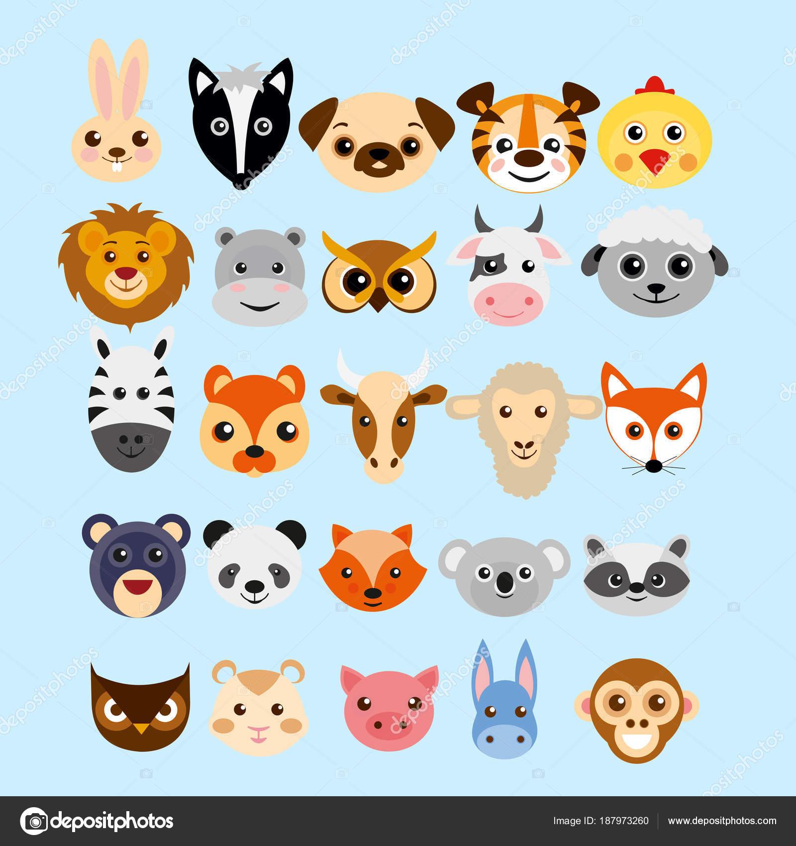 Düz Stilde Sevimli çizgi Hayvanlar Başkanları Vektör çizim Ayarla