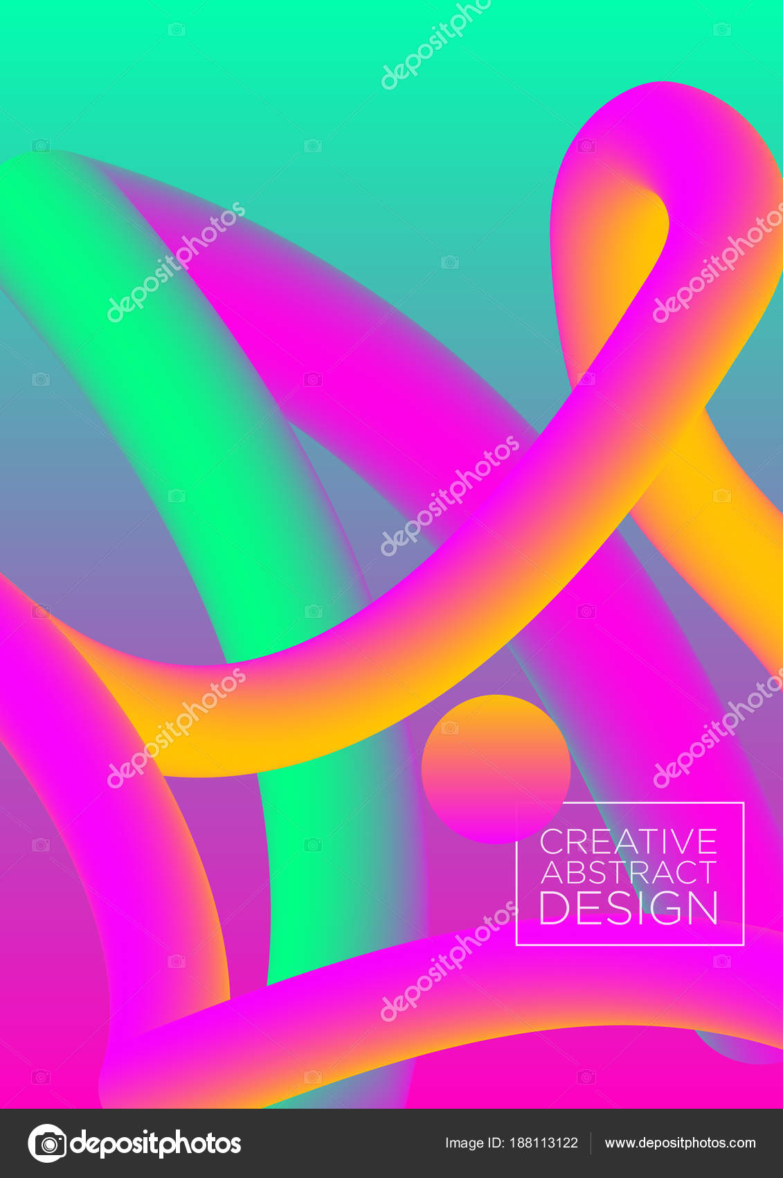 Vektor Illustration 3d Abstract In Hell Rosa Und Gruner