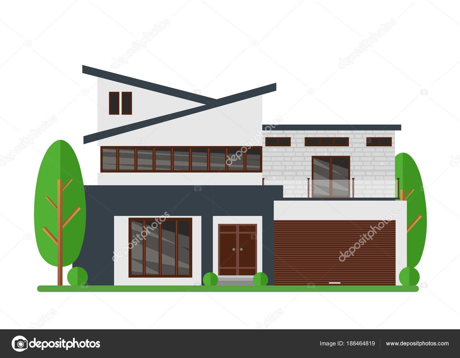 Vektor Illustration Der Schöne Moderne Immobilien Haus. Familie Traumhaus.  Architekt Business Konzept. Fassade Wohnhaus, Ferienhaus In Flachen Stil U2014  Vektor ...