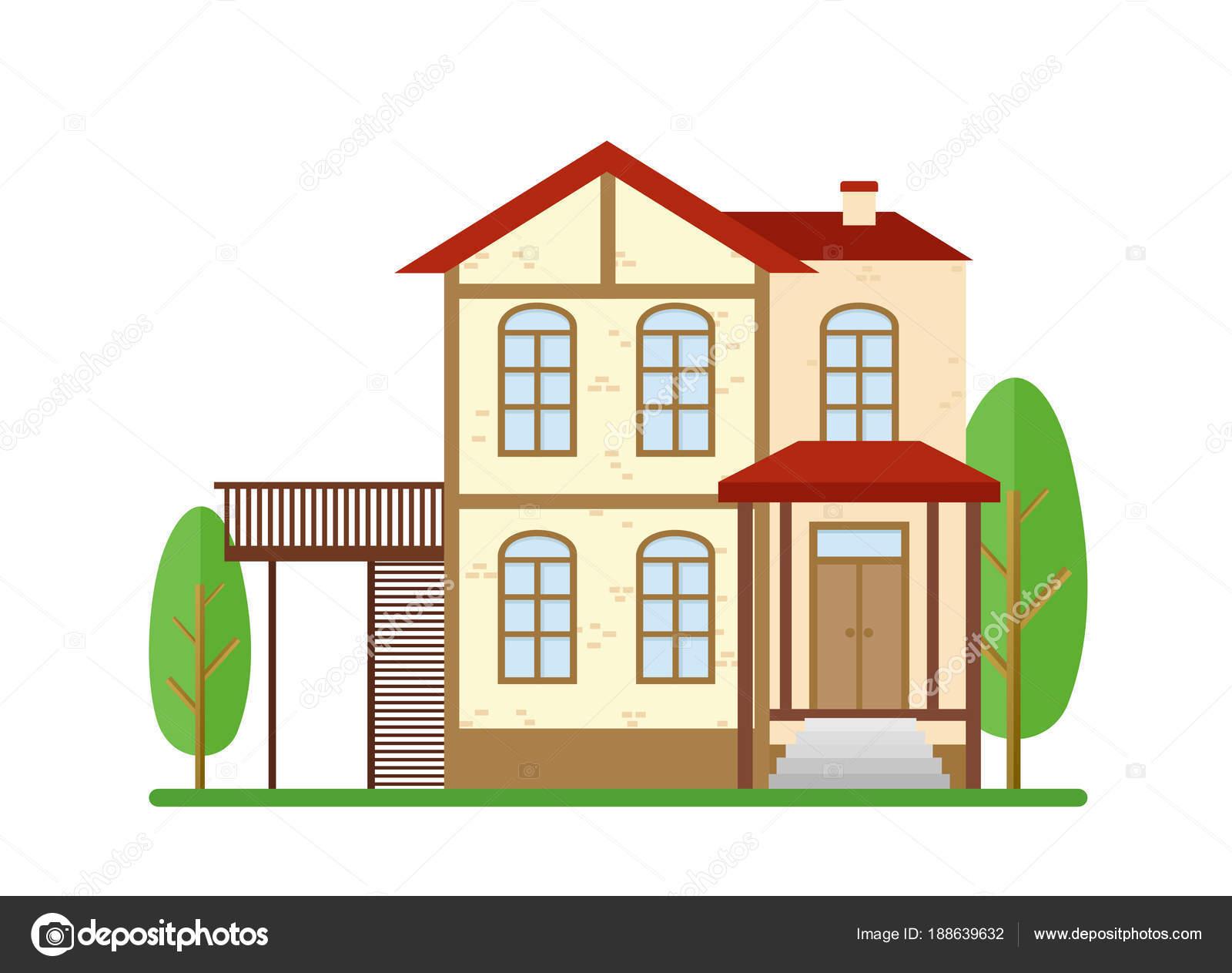 Vektor-Illustration modernes Haus, Immobilien, Einfamilienhaus ...