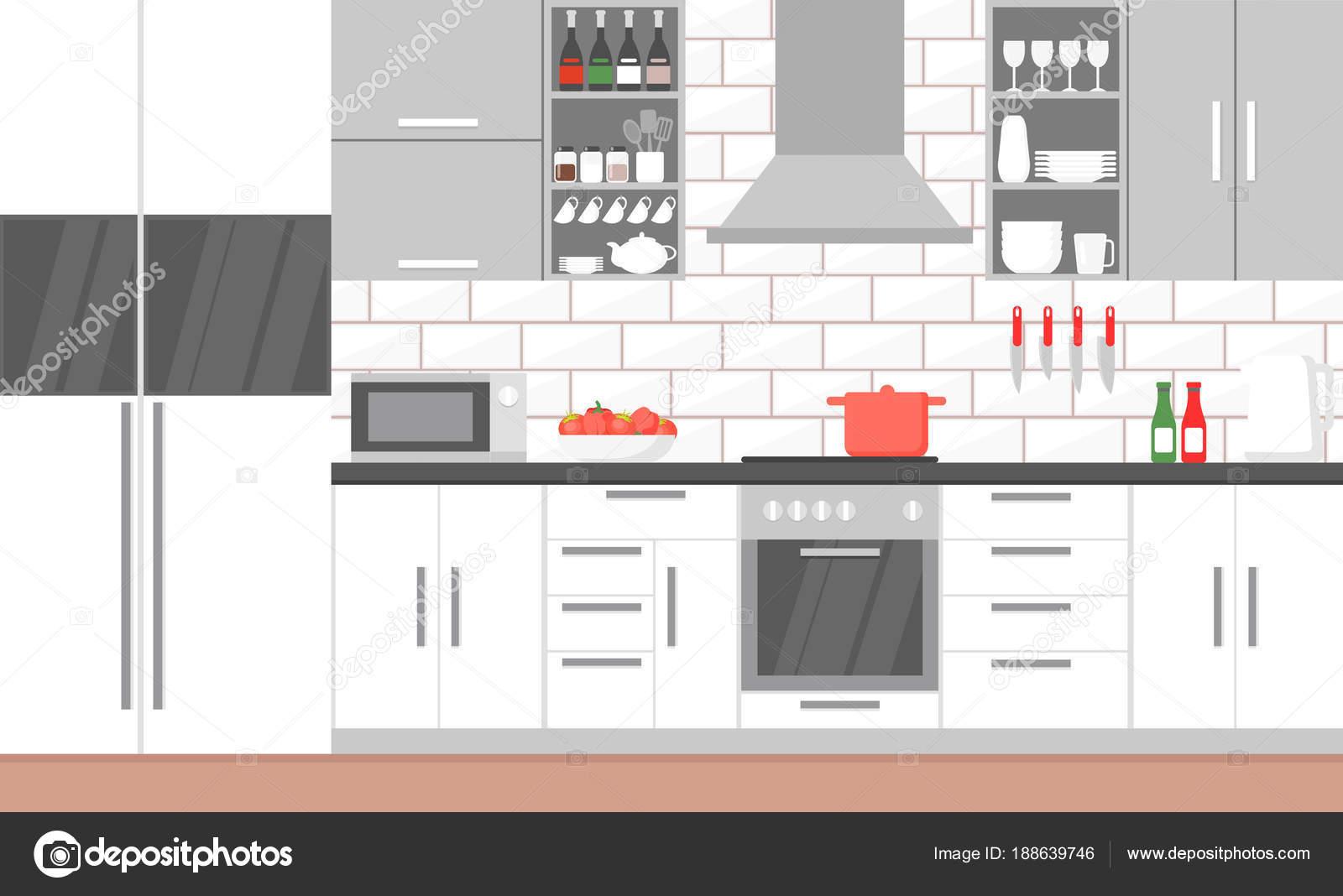 Vektor-Illustration des Inneren der moderne Küche mit Herd, Schrank ...