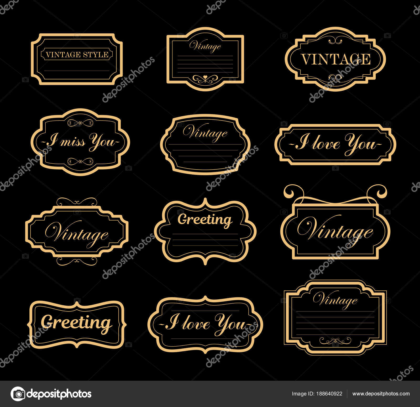Conjunto de ilustración vectorial de vendimia adornos decoraciones ...