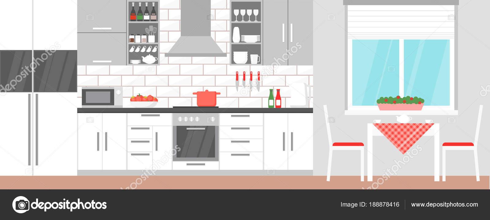 Illustrazione di vettore dell\'interiore della cucina moderna con ...