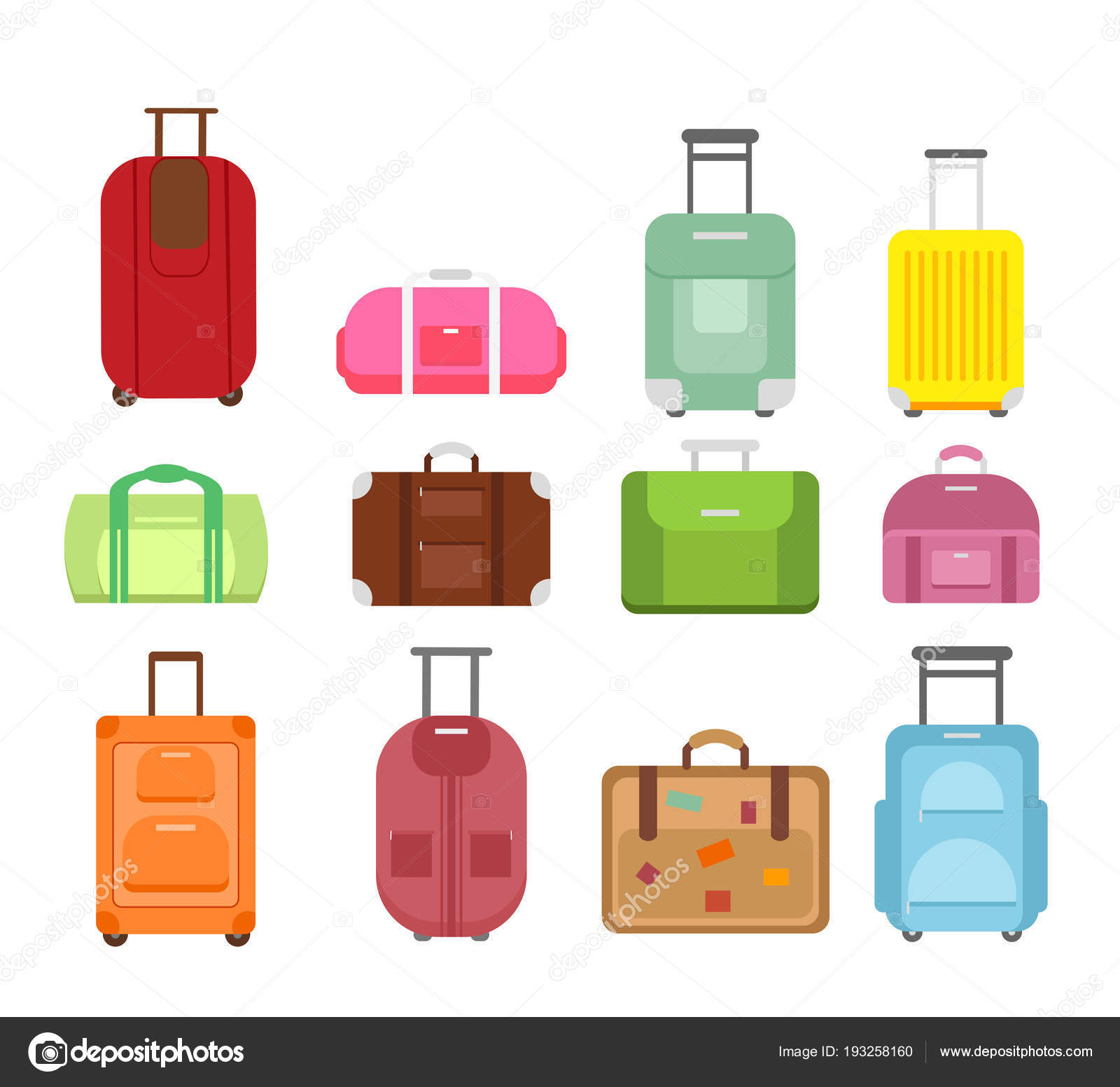 Vector Illustration Set Of Different Types Bags For Travel Isolated