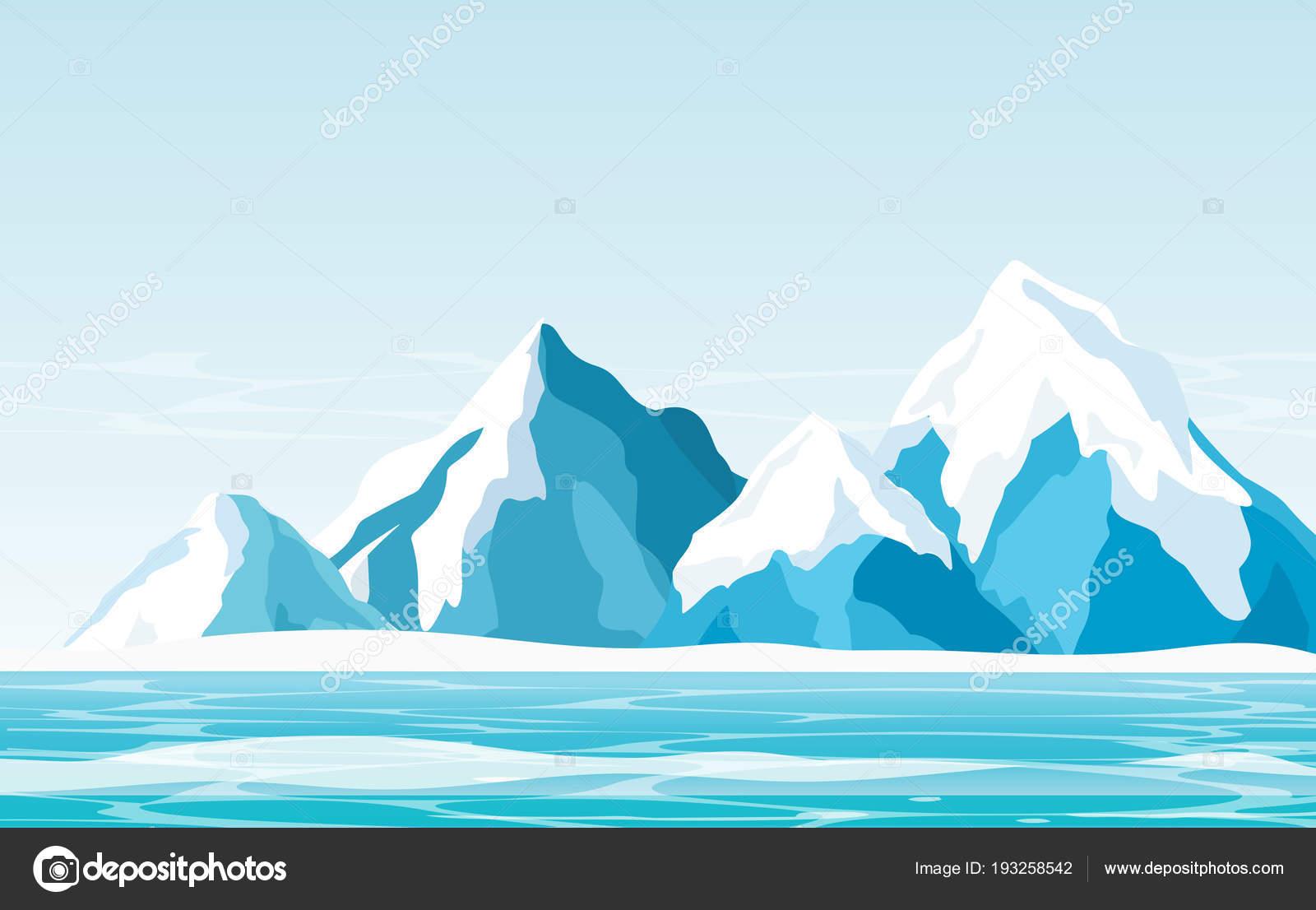 氷海フラット スタイルの明るい空を背景に雪山のベクトル イラスト