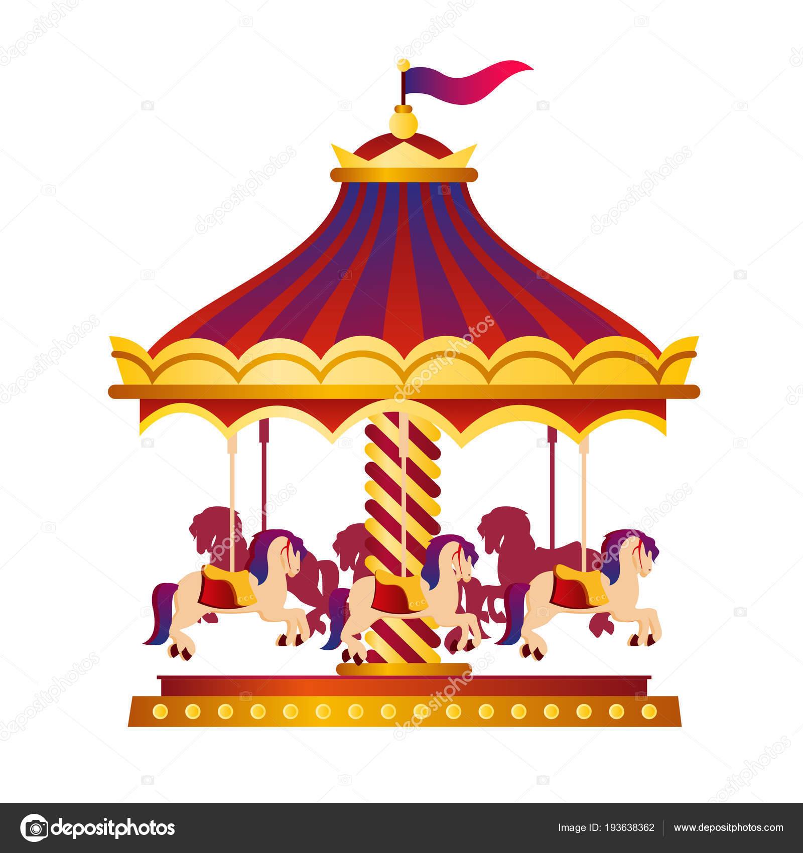 Carrousel Dessin illustration vectorielle de carrousel de cirque coloré et lumineux